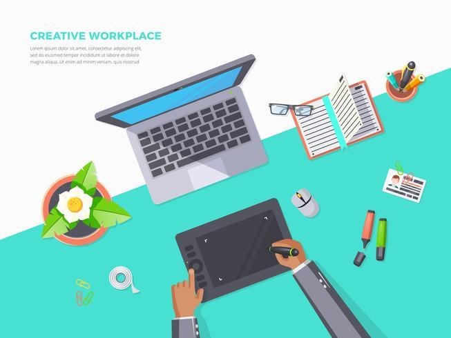 Vista superior do local de trabalho criativo vetor