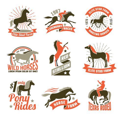 Conjunto de emblemas de rótulos de criação de cavalos vetor