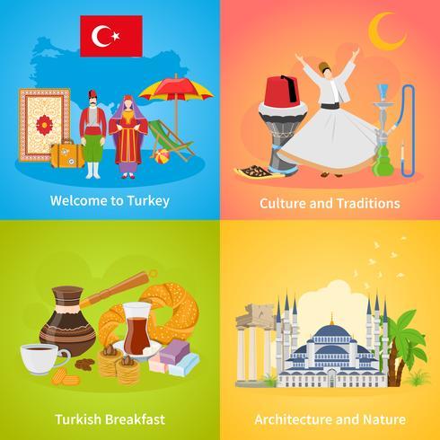Turquia 2x2 Design Concept Set vetor