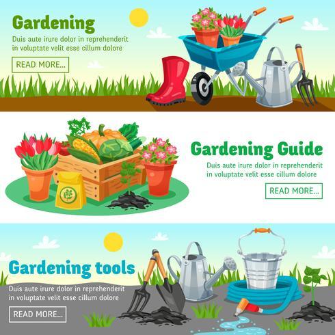 Banners horizontais de jardinagem vetor