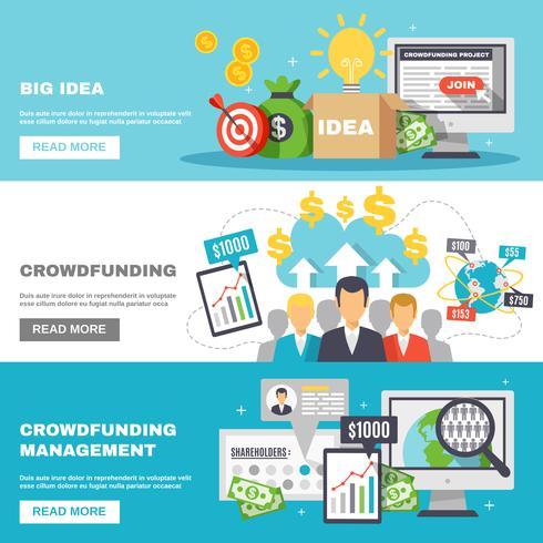 Banners Horizontais de Crowdfunding vetor