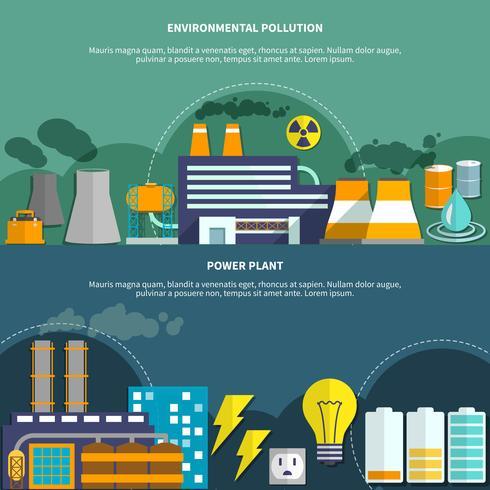Bandeira de poluição e usina de energia ambiental vetor
