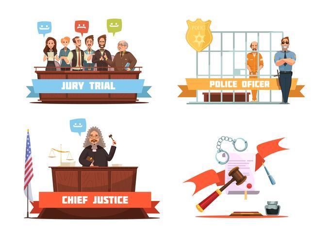 Justiça da lei 4 ícones retros dos desenhos animados vetor