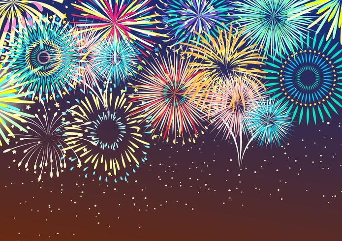 Fundo abstrato de fogo de artifício festivo vetor