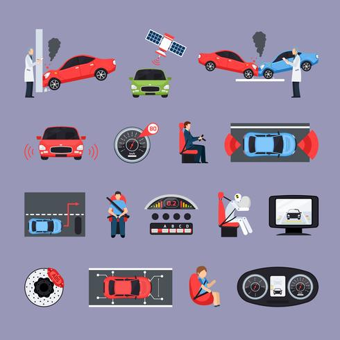 Conjunto de ícones de sistemas de segurança de carro vetor