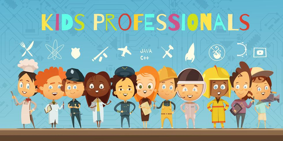 Kids in Costumes Of Professionals Composição dos desenhos animados vetor