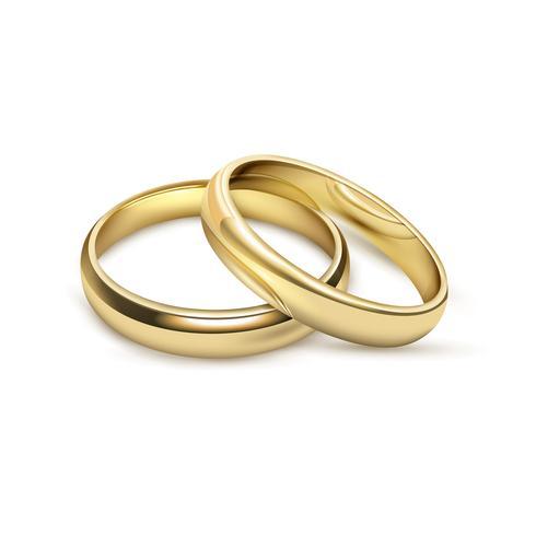 Anéis de casamentos nupcial definir imagem realista vetor