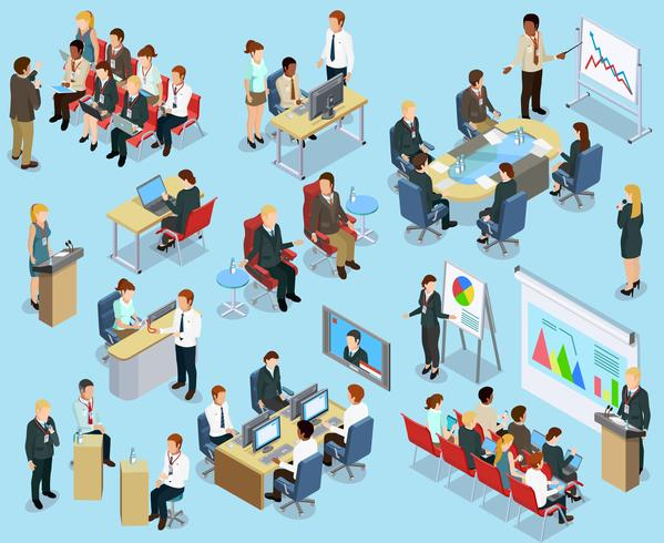 Business Coaching Isometric Collection vetor