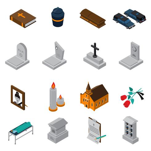 Conjunto de ícones isométrica fúnebre vetor