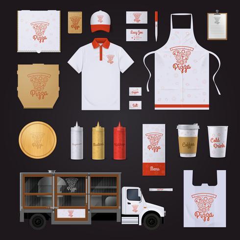 Pizza Design de modelo de identidade corporativa definido vetor