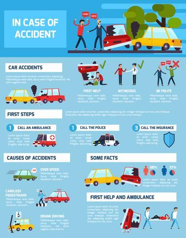 Conjunto de infográfico de acidentes rodoviários vetor