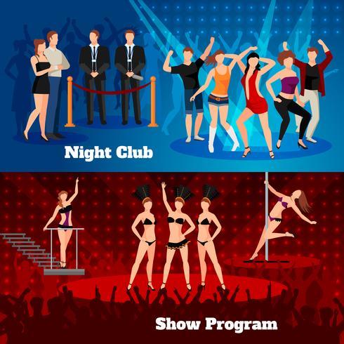 Show de dança do clube de noite 2 Banners plana vetor
