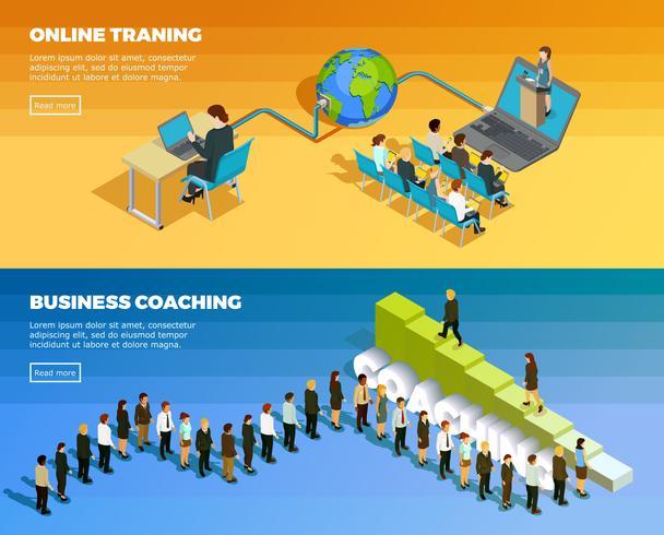 Banners horizontais isométrica de educação de negócios vetor