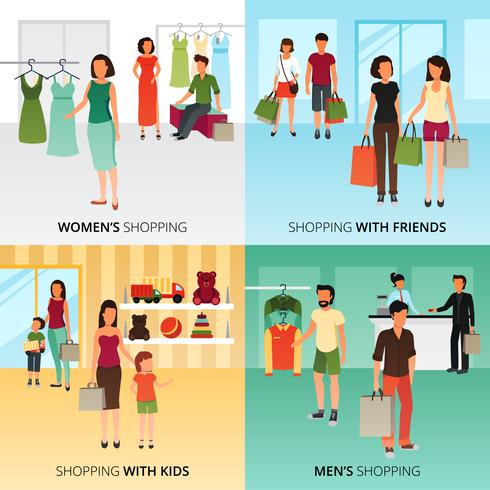 Conjunto de ícones de conceito de compras vetor