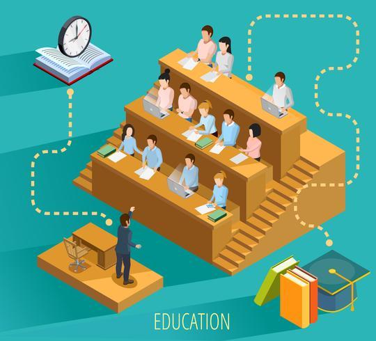 Cartaz isométrico do conceito da educação da universidade vetor