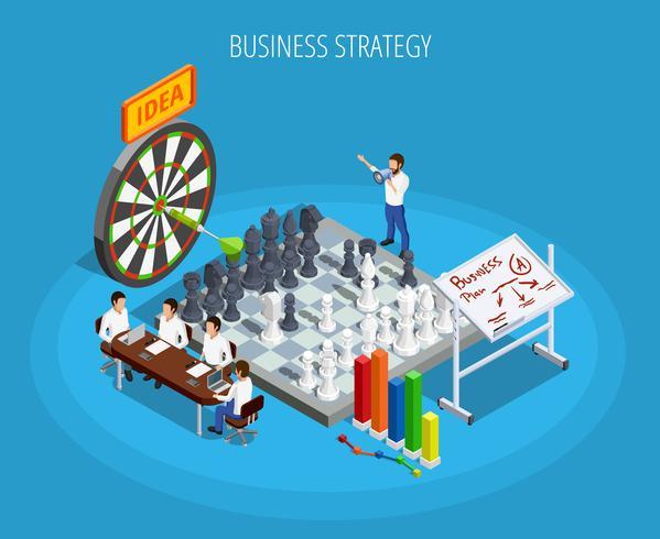 Modelo isométrico de planejamento de negócios vetor