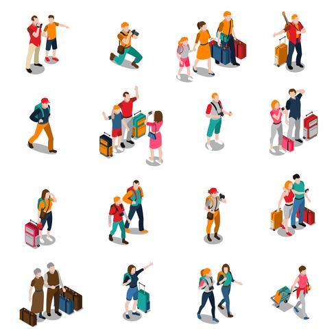 viagens pessoas isométricas ícones vetor
