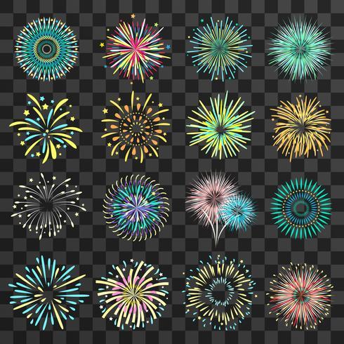 Fogos de artifício festivos no fundo transparente escuro vetor