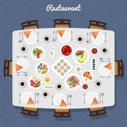 Vista superior de mesa de restaurante vetor