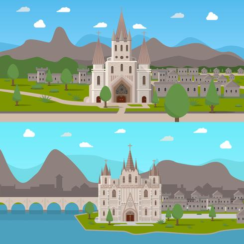 Composições Horizontais dos Templos Antigos Medievais vetor