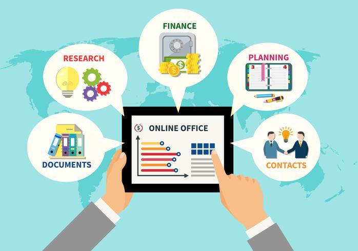 Conceito de Design de escritório on-line vetor