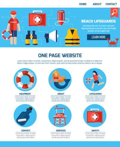 Design de site de uma página de guarda de vida vetor