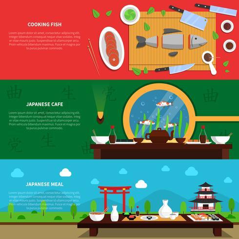 Conjunto de Banner de Sushi vetor