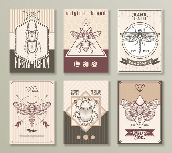Conjunto de cartões de hipster de insetos vetor