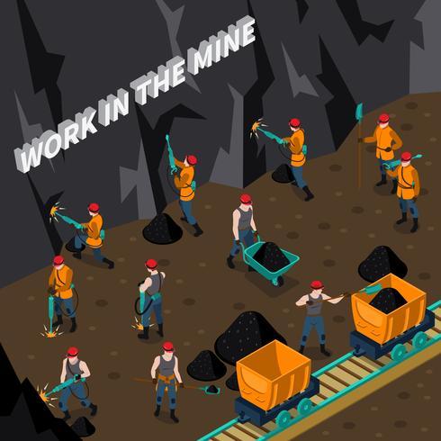 Mineração de pessoas isométrica vetor