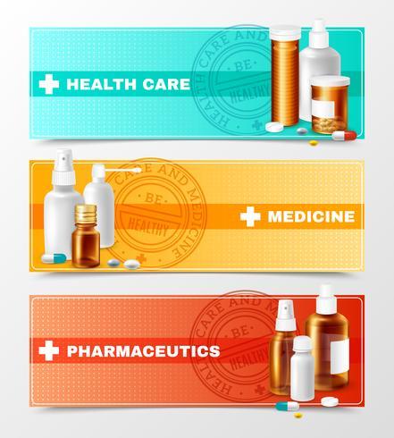 Conjunto de Banners de Medicamentos vetor