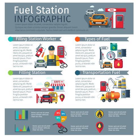 Conjunto de infográfico de posto de gasolina vetor
