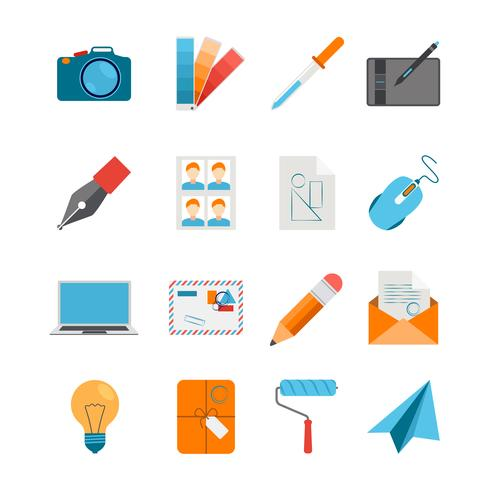Conjunto de ícones planas para Web e Design gráfico vetor