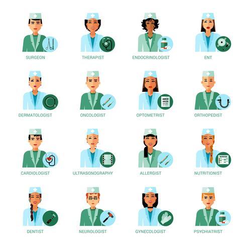 Conjunto de avatares de profissões médicas vetor