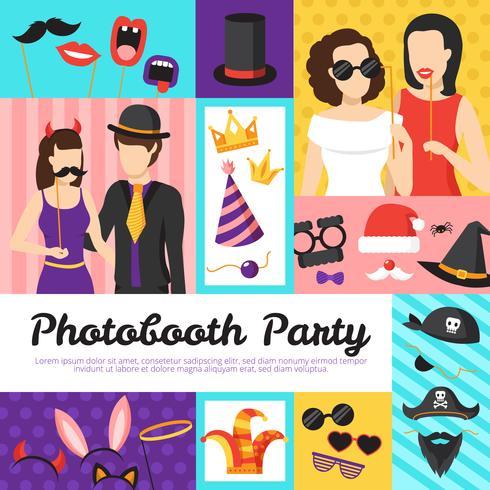 Conceito de Design de festa de cabine de foto vetor