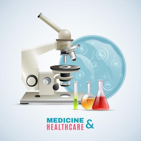 Cartaz de composição plana de pesquisa médica de cuidados de saúde vetor