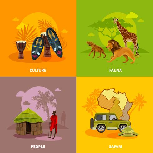 Conjunto de ícones do conceito de África vetor