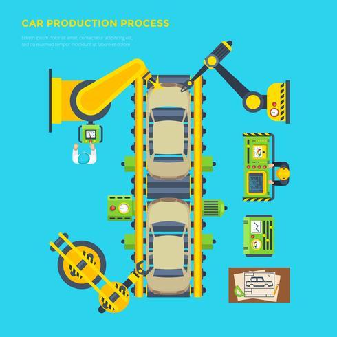 Cartaz de linha de produção de carro vetor