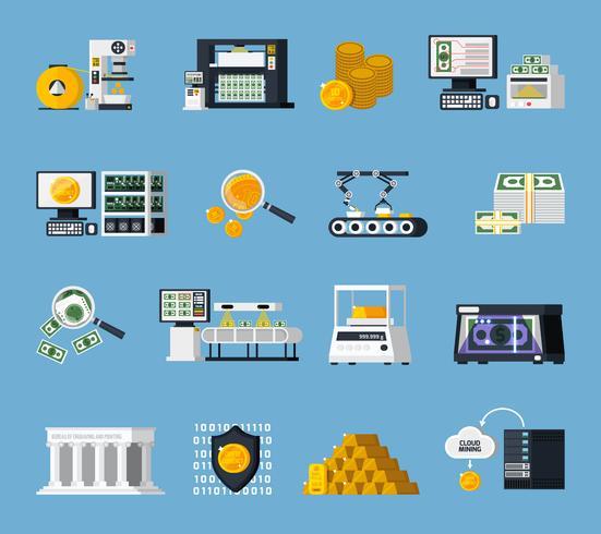Conjunto de ícones de fabricação de dinheiro vetor