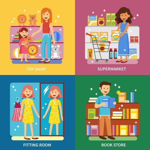 Conceito de compras 4 ícones Banner quadrado vetor