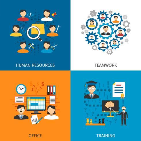 Conceito de recursos humanos 4 ícones planas vetor