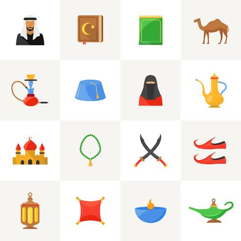 Conjunto de ícones de cultura árabe vetor