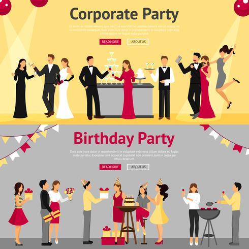 Conjunto de Banners plana de festa vetor