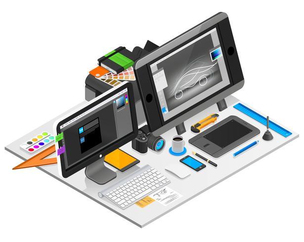 Ilustração de local de trabalho de design gráfico vetor