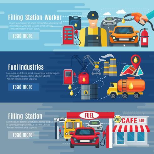 Conjunto de Banners de posto de gasolina vetor