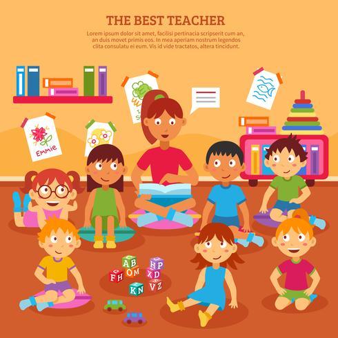 Cartaz do professor das crianças vetor