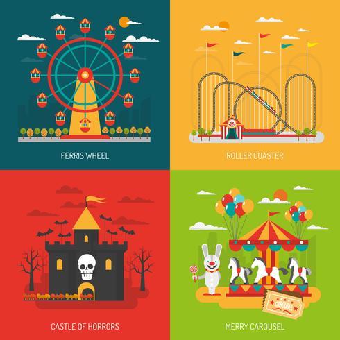 Conjunto de conceito de parque de diversões vetor