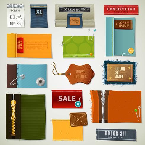 Conjunto de etiquetas têxteis vetor