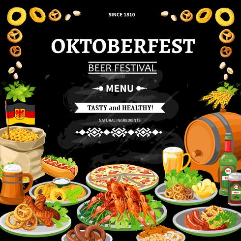 Poster de menu de Oktoberfest alemão quadro liso vetor