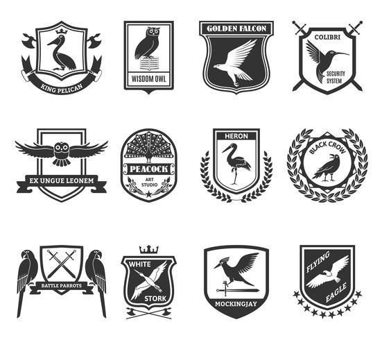 Coleção de ícones pretos de emblemas de aves vetor
