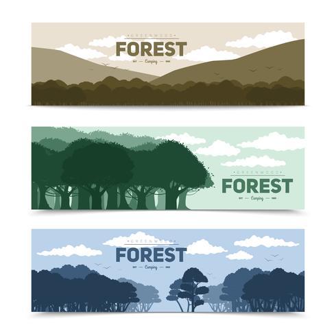 Conjunto de Banners de floresta de árvores vetor